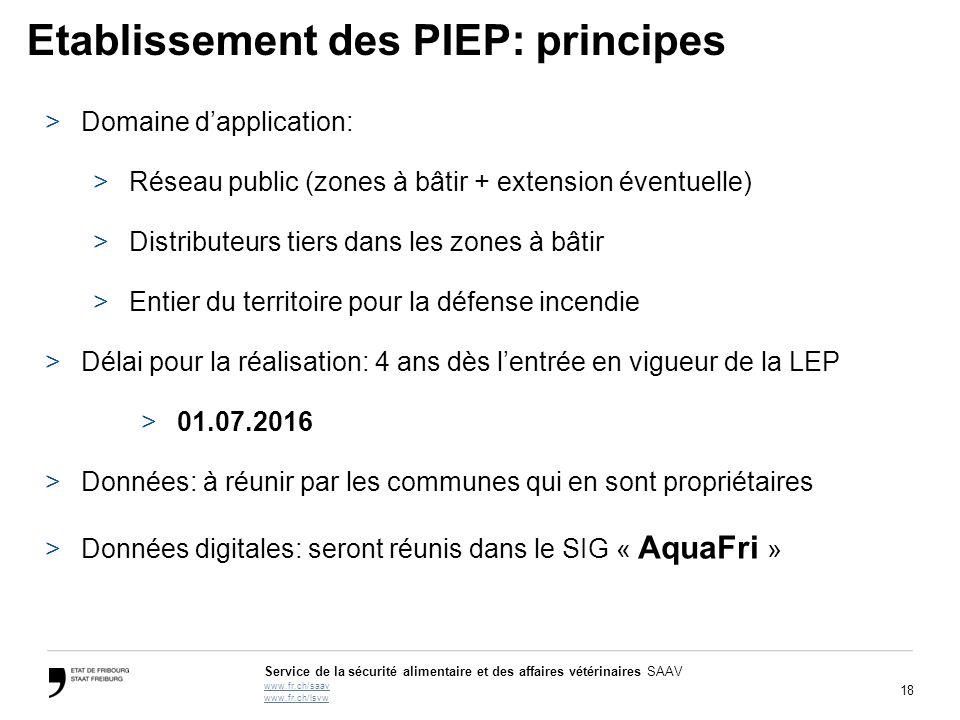 18 Service de la sécurité alimentaire et des affaires vétérinaires SAAV www.fr.ch/saav www.fr.ch/lsvw Etablissement des PIEP: principes >Domaine d'app