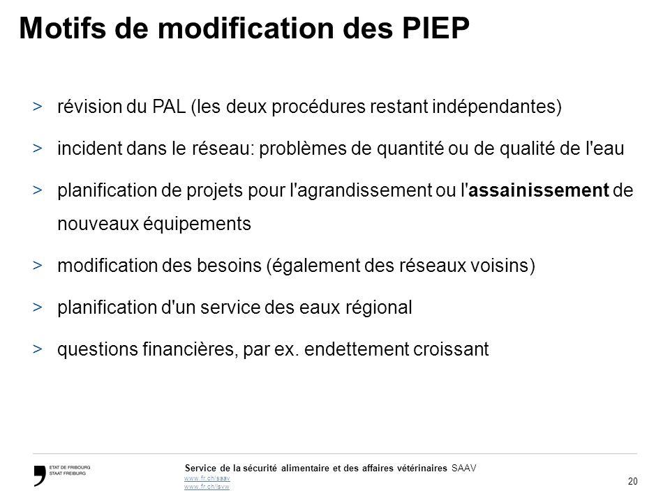 20 Service de la sécurité alimentaire et des affaires vétérinaires SAAV www.fr.ch/saav www.fr.ch/lsvw Motifs de modification des PIEP >révision du PAL