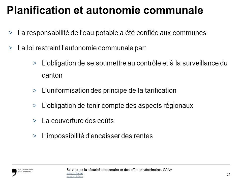 21 Service de la sécurité alimentaire et des affaires vétérinaires SAAV www.fr.ch/saav www.fr.ch/lsvw Planification et autonomie communale >La respons