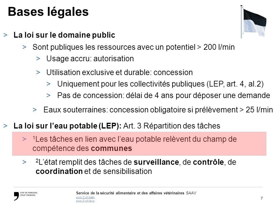 7 Service de la sécurité alimentaire et des affaires vétérinaires SAAV www.fr.ch/saav www.fr.ch/lsvw Bases légales >La loi sur le domaine public >Sont