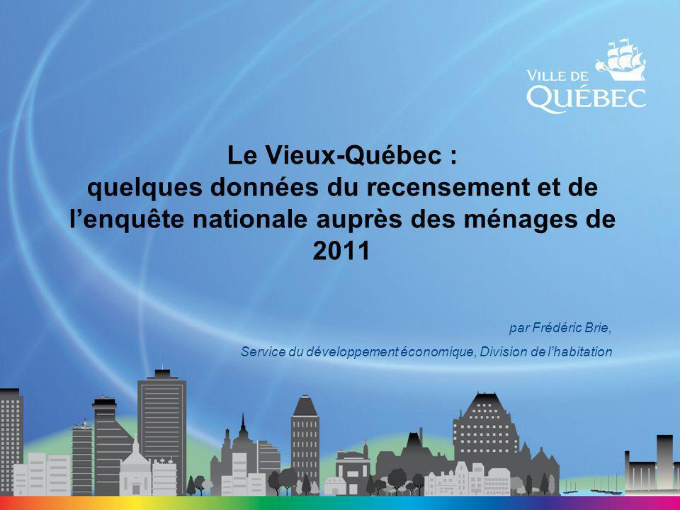 Le Vieux-Québec : quelques données du recensement et de l'enquête nationale auprès des ménages de 2011 par Frédéric Brie, Service du développement économique, Division de l'habitation