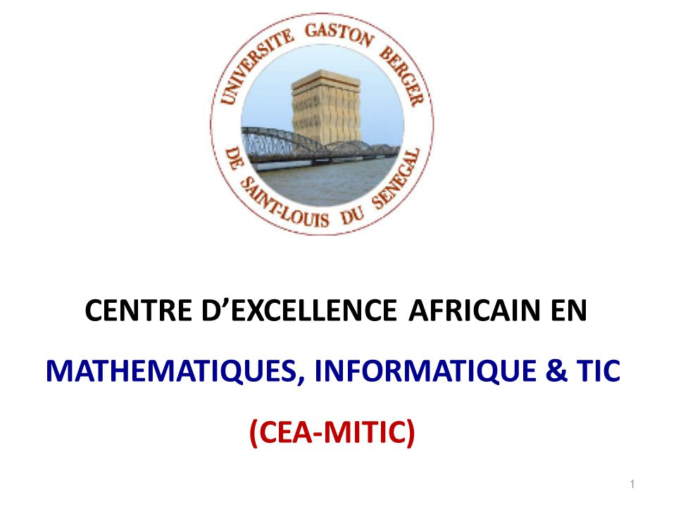CENTRE D'EXCELLENCE AFRICAIN EN MATHEMATIQUES, INFORMATIQUE & TIC (CEA-MITIC) 1