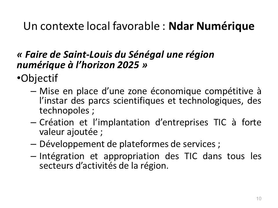 Un contexte local favorable : Ndar Numérique « Faire de Saint-Louis du Sénégal une région numérique à l'horizon 2025 » Objectif – Mise en place d'une