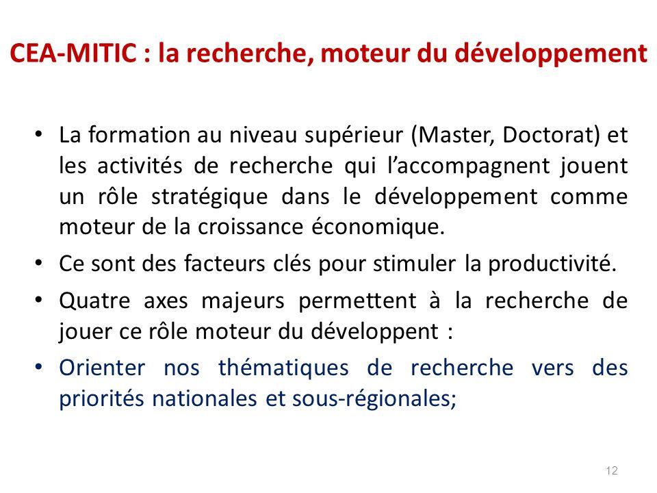 CEA-MITIC : la recherche, moteur du développement La formation au niveau supérieur (Master, Doctorat) et les activités de recherche qui l'accompagnent