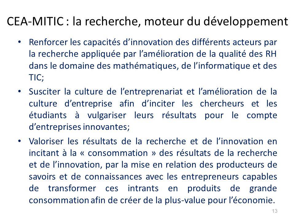 CEA-MITIC : la recherche, moteur du développement Renforcer les capacités d'innovation des différents acteurs par la recherche appliquée par l'amélior