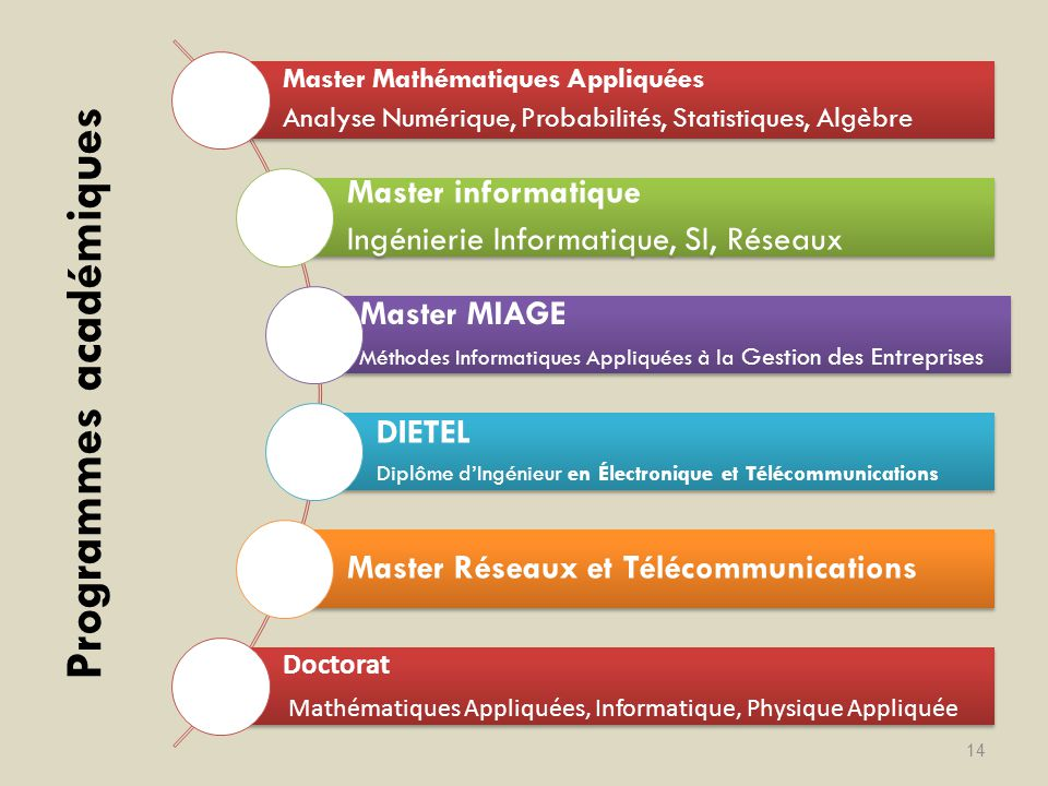 Programmes académiques 14 Master Mathématiques Appliquées Analyse Numérique, Probabilités, Statistiques, Algèbre Master informatique Ingénierie Inform