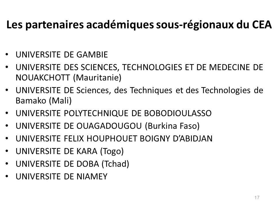 Les partenaires académiques sous-régionaux du CEA UNIVERSITE DE GAMBIE UNIVERSITE DES SCIENCES, TECHNOLOGIES ET DE MEDECINE DE NOUAKCHOTT (Mauritanie)