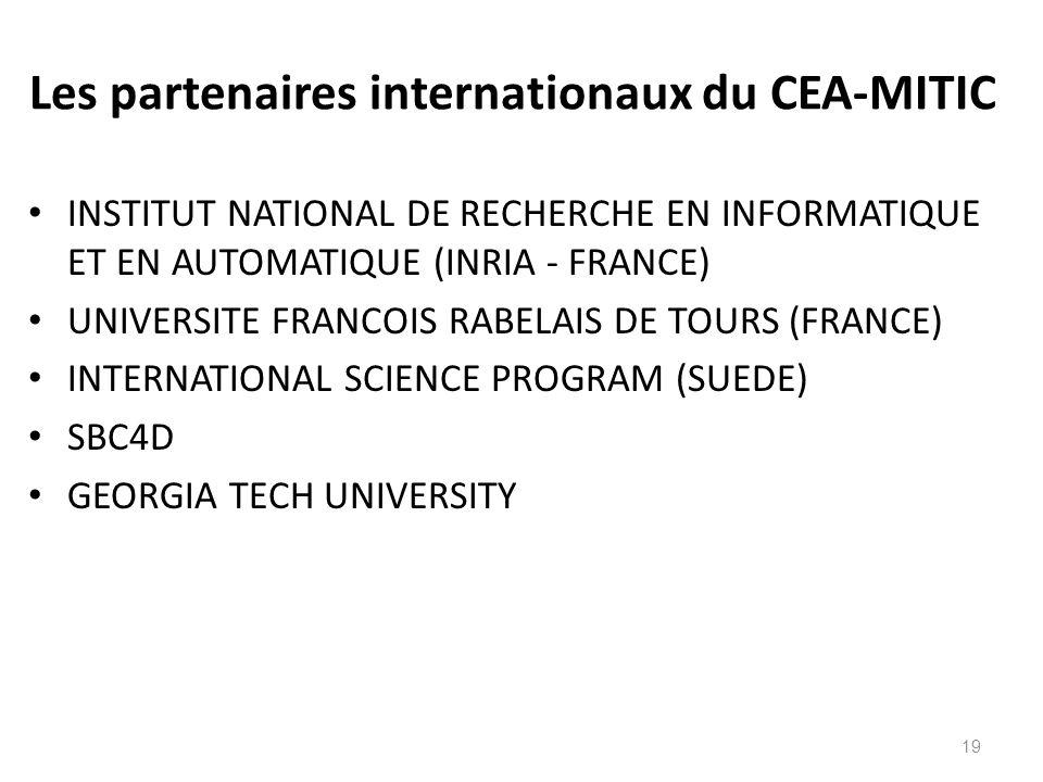 Les partenaires internationaux du CEA-MITIC INSTITUT NATIONAL DE RECHERCHE EN INFORMATIQUE ET EN AUTOMATIQUE (INRIA - FRANCE) UNIVERSITE FRANCOIS RABE