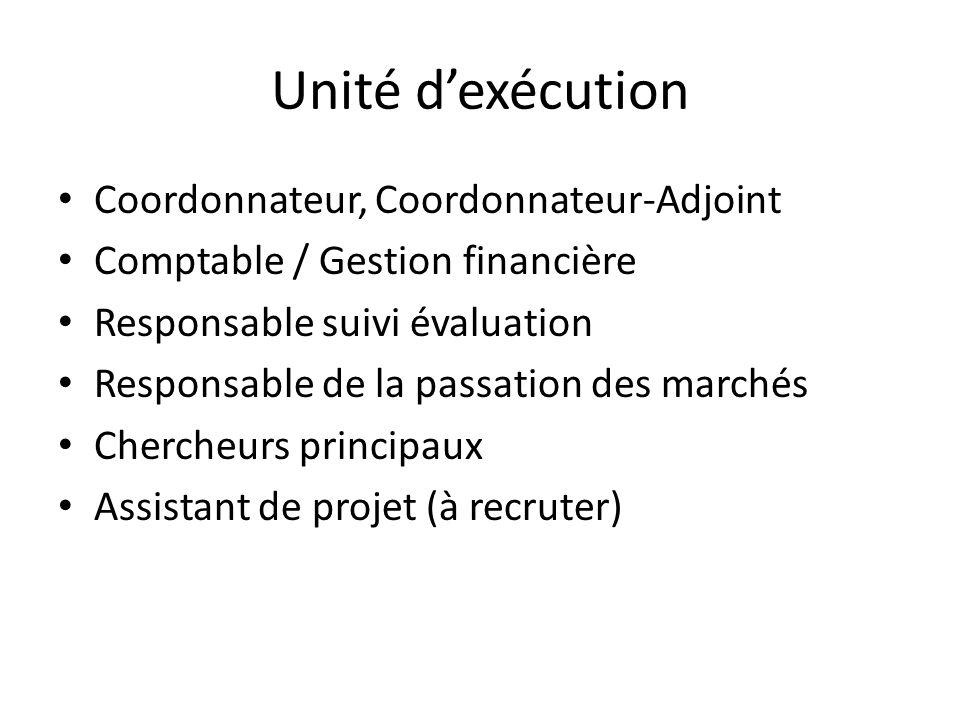 Unité d'exécution Coordonnateur, Coordonnateur-Adjoint Comptable / Gestion financière Responsable suivi évaluation Responsable de la passation des mar