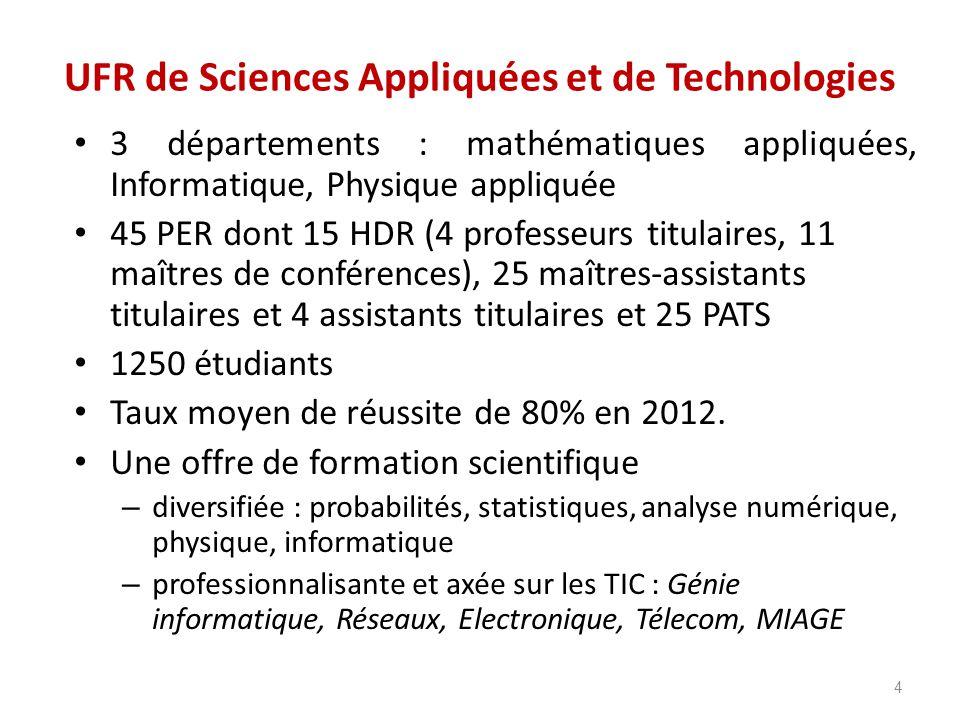 UFR de Sciences Appliquées et de Technologies 3 départements : mathématiques appliquées, Informatique, Physique appliquée 45 PER dont 15 HDR (4 profes