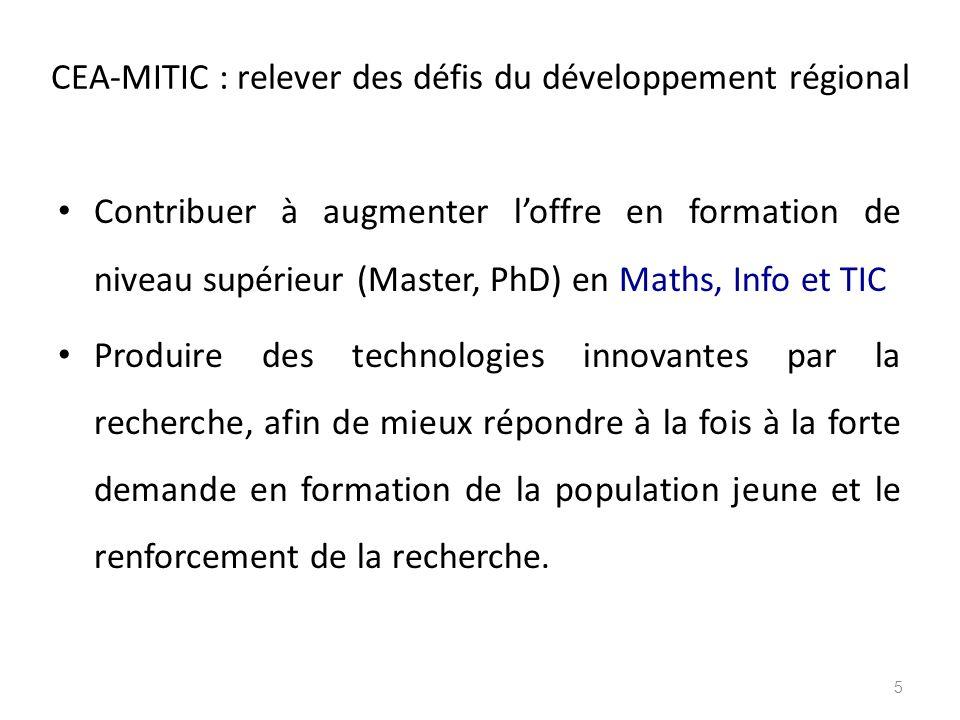 CEA-MITIC : relever des défis du développement régional Contribuer à augmenter l'offre en formation de niveau supérieur (Master, PhD) en Maths, Info e