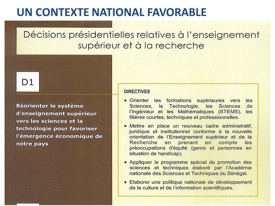 Un contexte local favorable : Ndar Numérique « Faire de Saint-Louis du Sénégal une région numérique à l'horizon 2025 » Objectif – Mise en place d'une zone économique compétitive à l'instar des parcs scientifiques et technologiques, des technopoles ; – Création et l'implantation d'entreprises TIC à forte valeur ajoutée ; – Développement de plateformes de services ; – Intégration et appropriation des TIC dans tous les secteurs d'activités de la région.