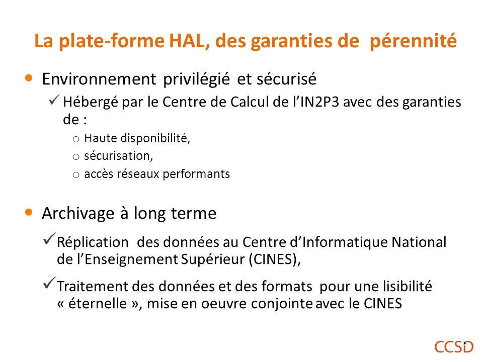 La plate-forme HAL, des garanties de pérennité Environnement privilégié et sécurisé Hébergé par le Centre de Calcul de l'IN2P3 avec des garanties de : o Haute disponibilité, o sécurisation, o accès réseaux performants Archivage à long terme Réplication des données au Centre d'Informatique National de l'Enseignement Supérieur (CINES), Traitement des données et des formats pour une lisibilité « éternelle », mise en oeuvre conjointe avec le CINES