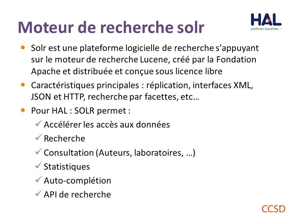 Solr est une plateforme logicielle de recherche s appuyant sur le moteur de recherche Lucene, créé par la Fondation Apache et distribuée et conçue sous licence libre Caractéristiques principales : réplication, interfaces XML, JSON et HTTP, recherche par facettes, etc… Pour HAL : SOLR permet : Accélérer les accès aux données Recherche Consultation (Auteurs, laboratoires, …) Statistiques Auto-complétion API de recherche 50 Moteur de recherche solr