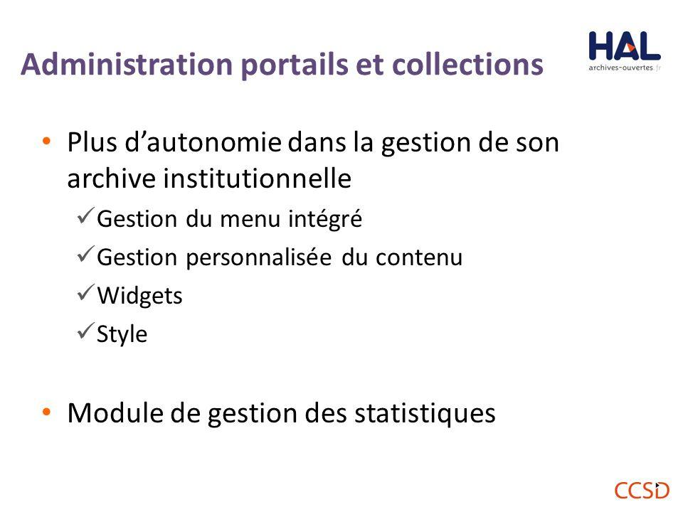 Administration portails et collections Plus d'autonomie dans la gestion de son archive institutionnelle Gestion du menu intégré Gestion personnalisée du contenu Widgets Style Module de gestion des statistiques