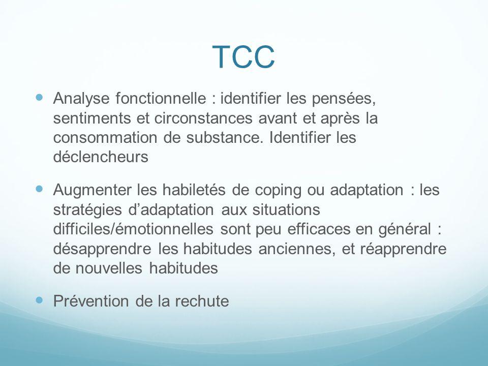 TCC Analyse fonctionnelle : identifier les pensées, sentiments et circonstances avant et après la consommation de substance. Identifier les déclencheu