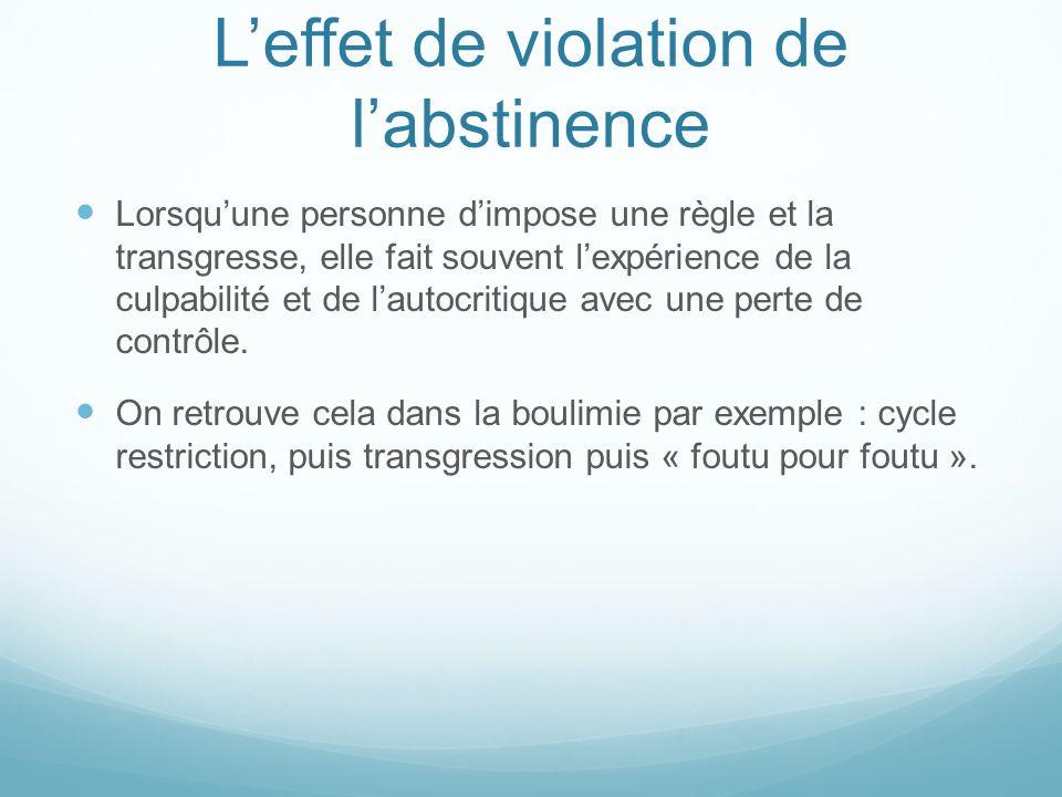 L'effet de violation de l'abstinence Lorsqu'une personne d'impose une règle et la transgresse, elle fait souvent l'expérience de la culpabilité et de