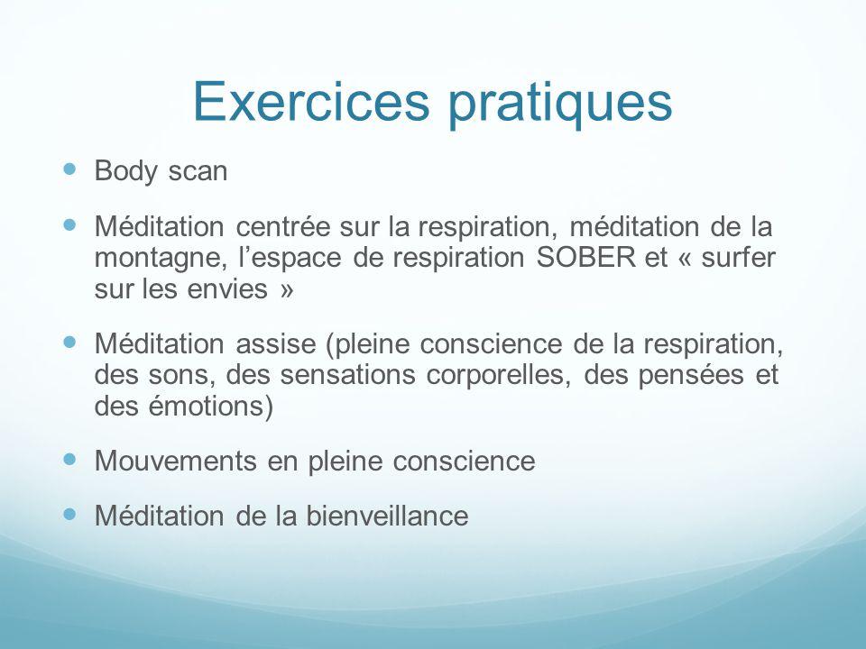 Exercices pratiques Body scan Méditation centrée sur la respiration, méditation de la montagne, l'espace de respiration SOBER et « surfer sur les envi