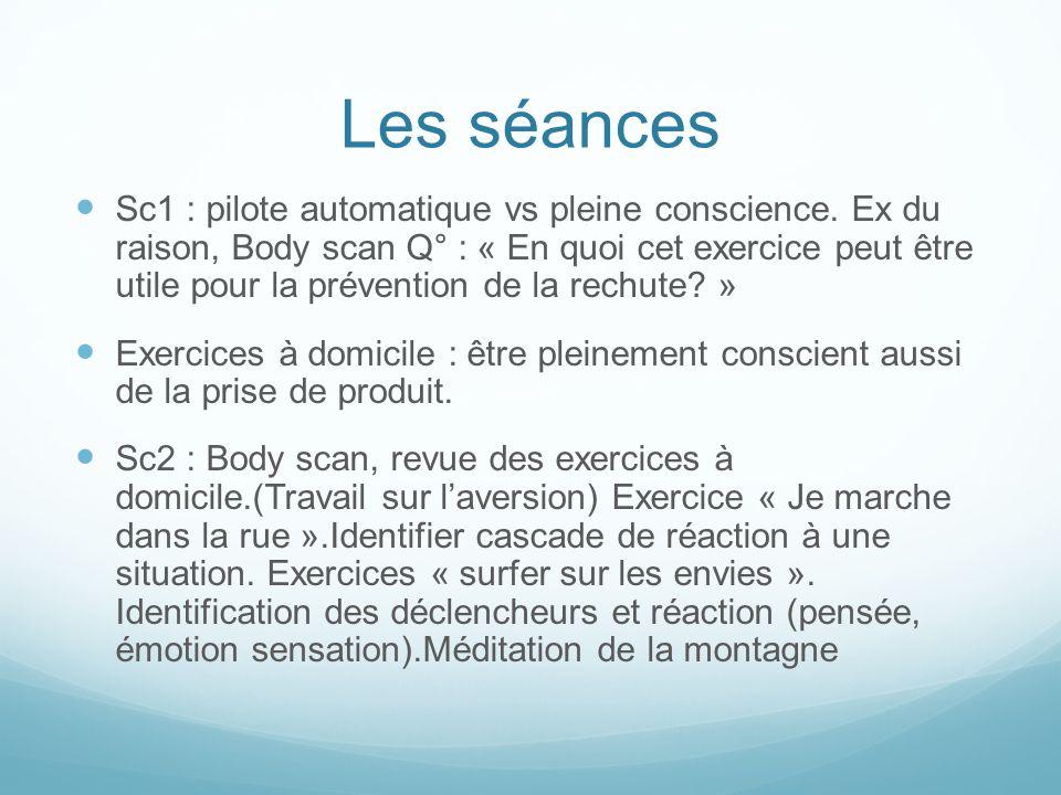 Les séances Sc1 : pilote automatique vs pleine conscience. Ex du raison, Body scan Q° : « En quoi cet exercice peut être utile pour la prévention de l