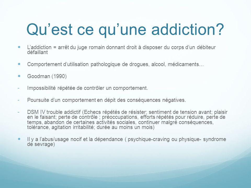 Qu'est ce qu'une addiction? L'addiction = arrêt du juge romain donnant droit à disposer du corps d'un débiteur défaillant Comportement d'utilisation p
