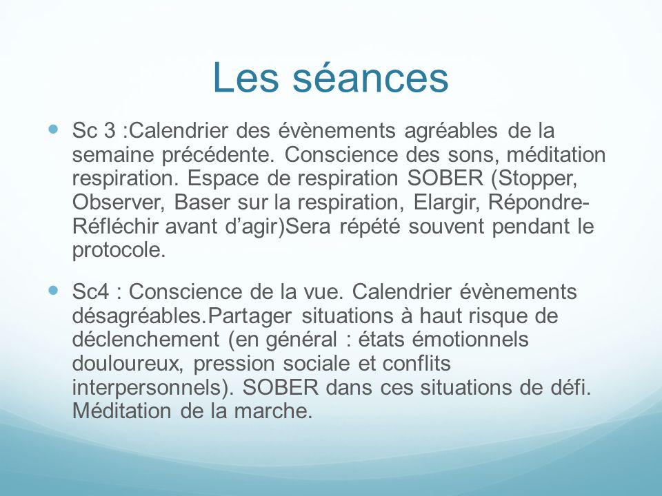 Les séances Sc 3 :Calendrier des évènements agréables de la semaine précédente. Conscience des sons, méditation respiration. Espace de respiration SOB