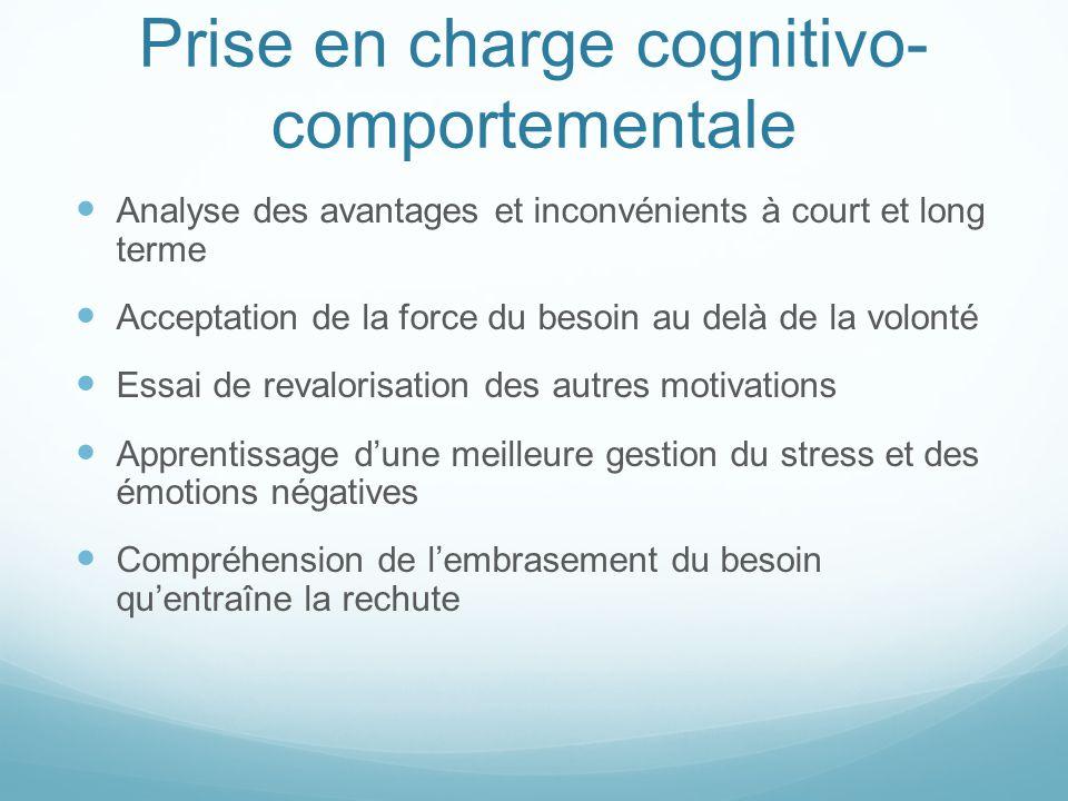 Prise en charge cognitivo- comportementale Analyse des avantages et inconvénients à court et long terme Acceptation de la force du besoin au delà de l