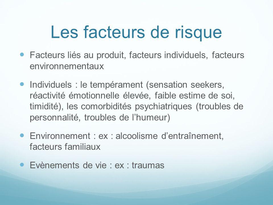 Les facteurs de risque Facteurs liés au produit, facteurs individuels, facteurs environnementaux Individuels : le tempérament (sensation seekers, réac