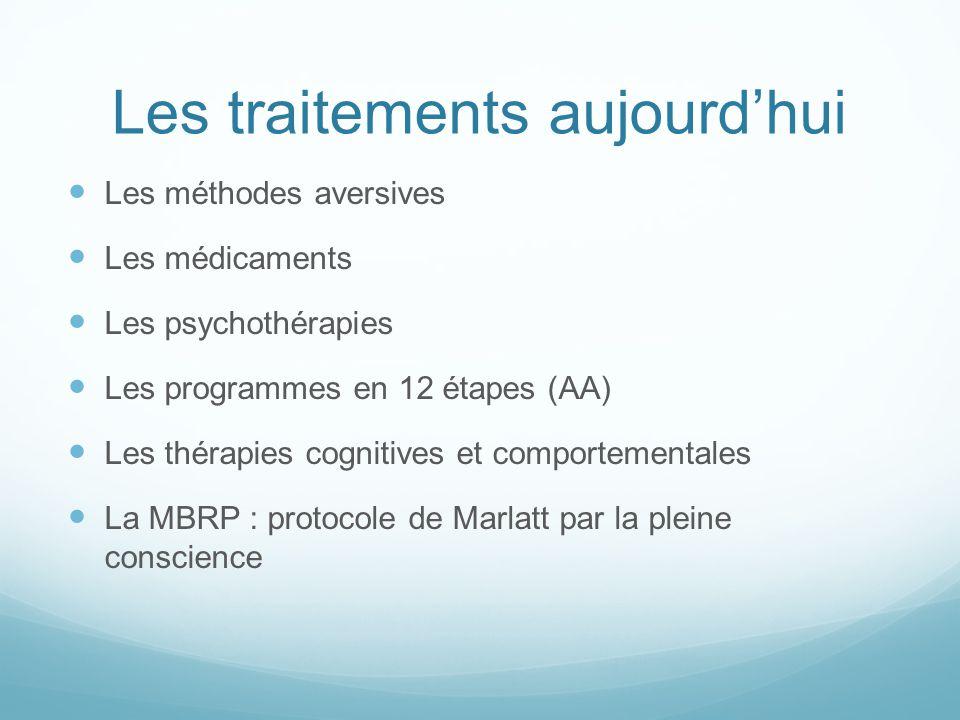 Les traitements aujourd'hui Les méthodes aversives Les médicaments Les psychothérapies Les programmes en 12 étapes (AA) Les thérapies cognitives et co