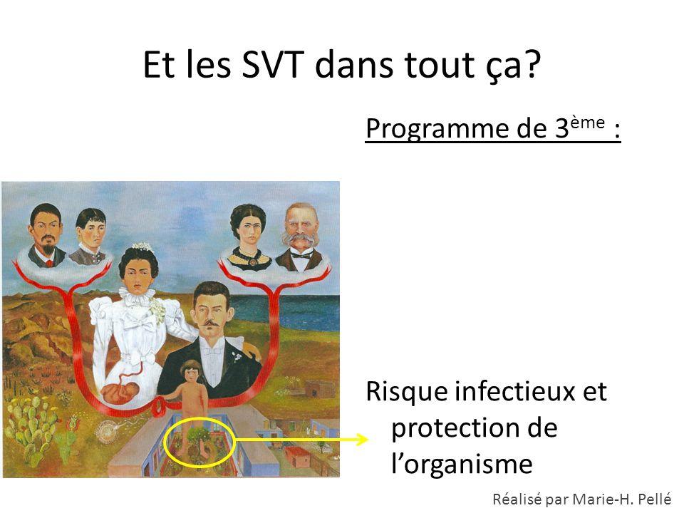 Et les SVT dans tout ça? Programme de 3 ème : Risque infectieux et protection de l'organisme Réalisé par Marie-H. Pellé