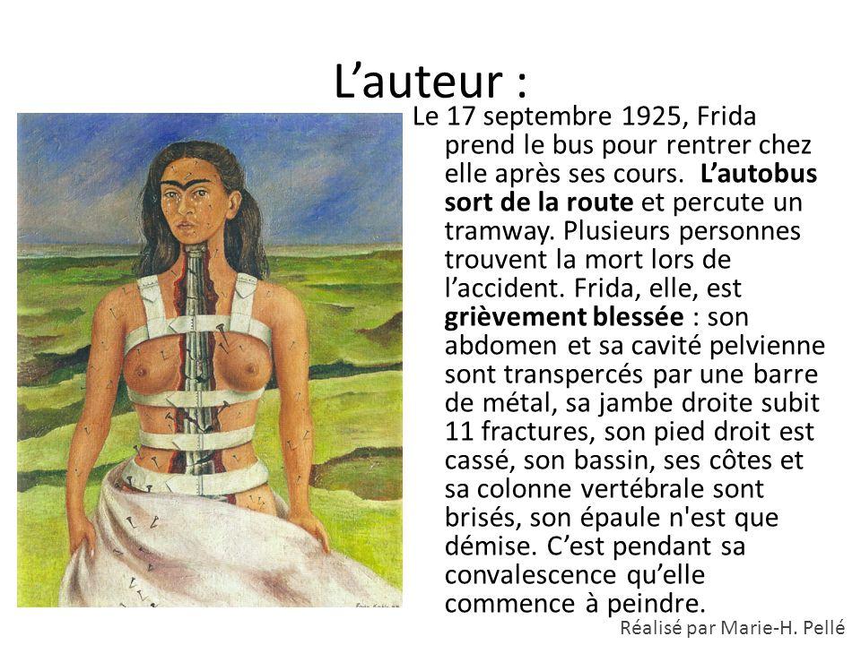 L'auteur : Le 17 septembre 1925, Frida prend le bus pour rentrer chez elle après ses cours. L'autobus sort de la route et percute un tramway. Plusieur