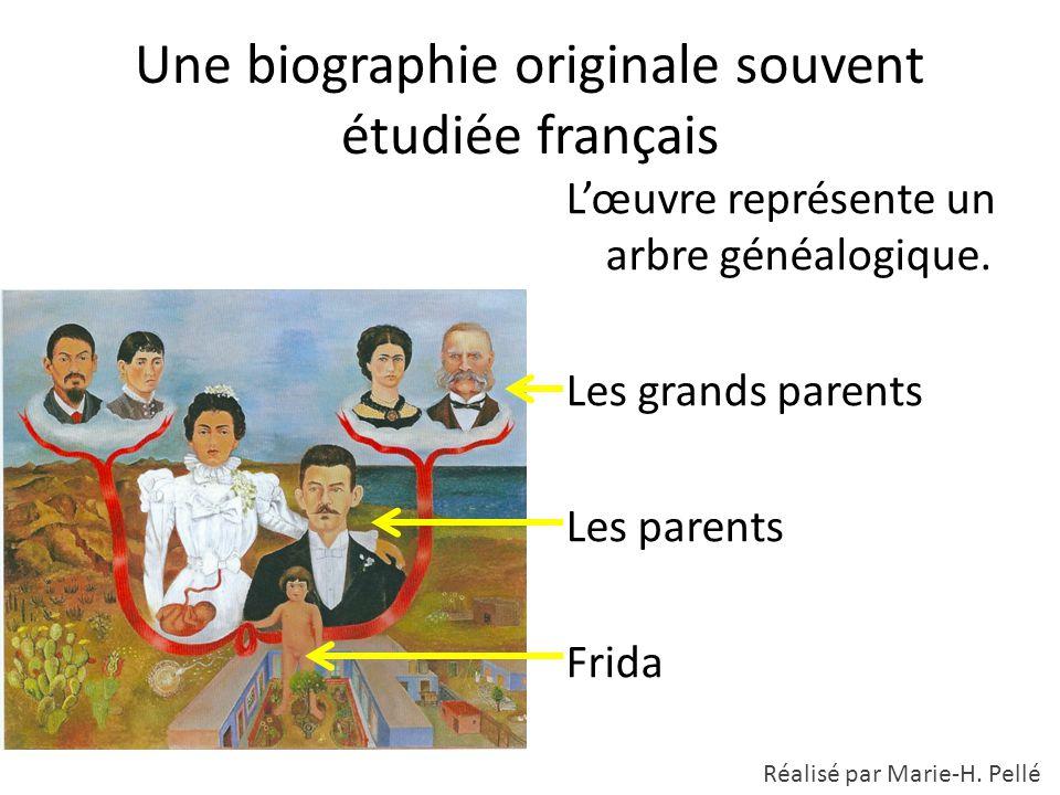 Une biographie originale souvent étudiée français L'œuvre représente un arbre généalogique. Les grands parents Les parents Frida Réalisé par Marie-H.