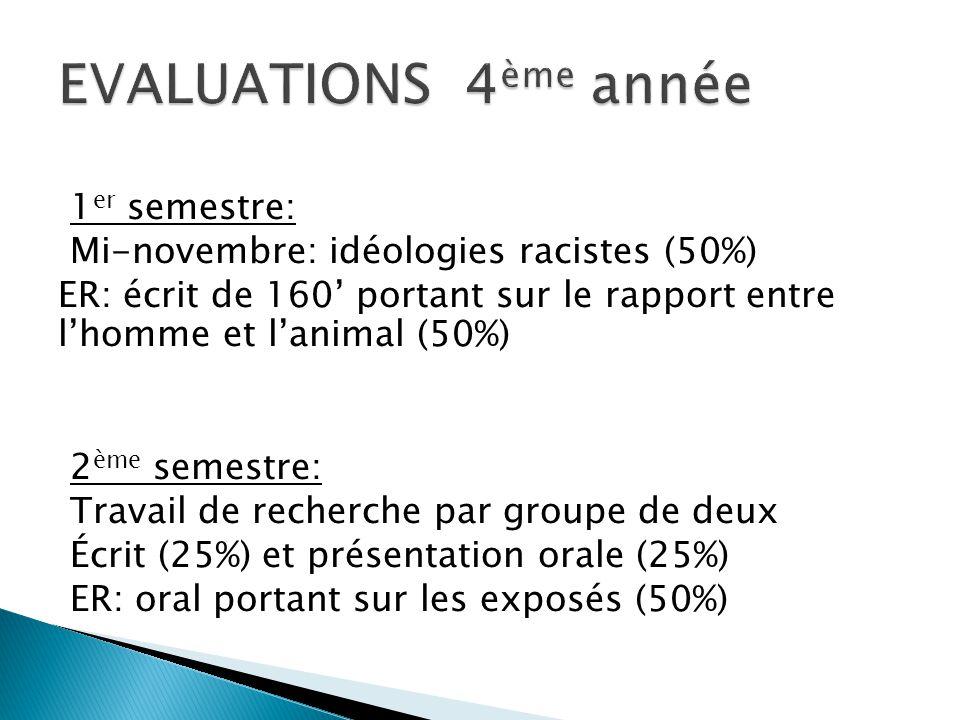 1 er semestre: Mi-novembre: idéologies racistes (50%) ER: écrit de 160' portant sur le rapport entre l'homme et l'animal (50%) 2 ème semestre: Travail