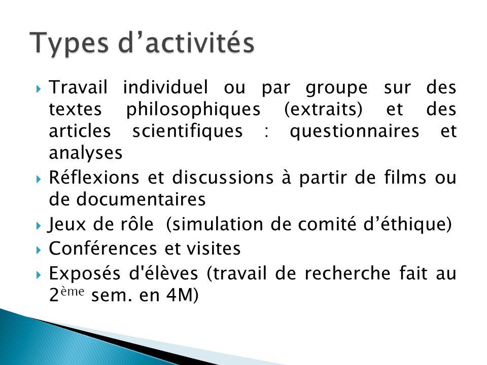  Travail individuel ou par groupe sur des textes philosophiques (extraits) et des articles scientifiques : questionnaires et analyses  Réflexions et