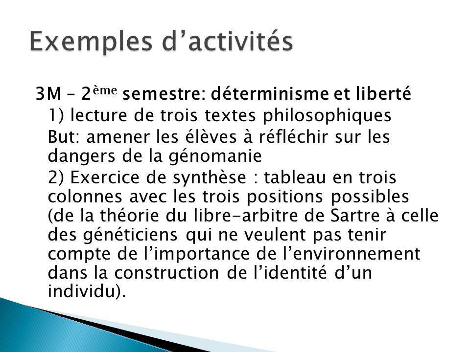 3M – 2 ème semestre: déterminisme et liberté 1) lecture de trois textes philosophiques But: amener les élèves à réfléchir sur les dangers de la génoma