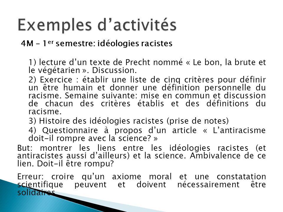 4M – 1 er semestre: idéologies racistes 1) lecture d'un texte de Precht nommé « Le bon, la brute et le végétarien ». Discussion. 2) Exercice : établir
