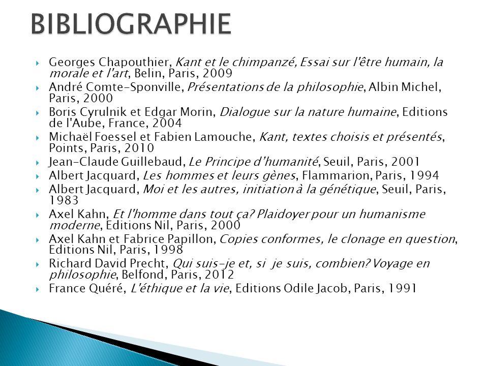  Georges Chapouthier, Kant et le chimpanzé, Essai sur l'être humain, la morale et l'art, Belin, Paris, 2009  André Comte-Sponville, Présentations de
