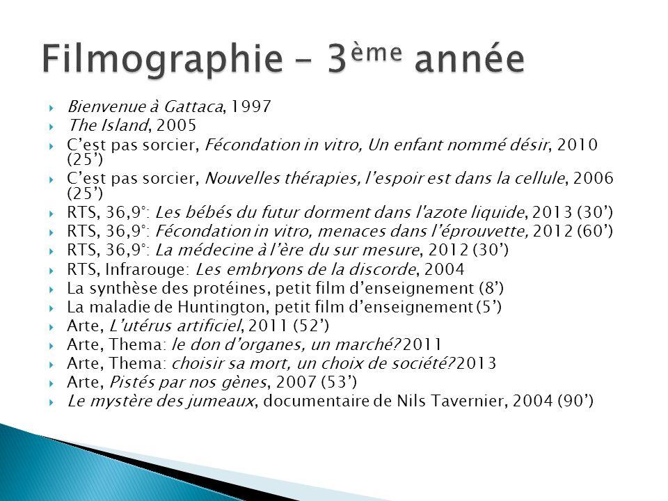  Bienvenue à Gattaca, 1997  The Island, 2005  C'est pas sorcier, Fécondation in vitro, Un enfant nommé désir, 2010 (25')  C'est pas sorcier, Nouve