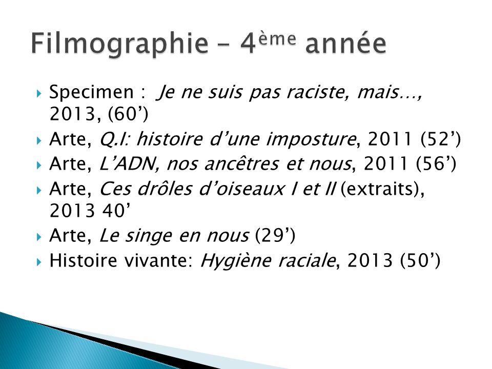  Specimen : Je ne suis pas raciste, mais…, 2013, (60')  Arte, Q.I: histoire d'une imposture, 2011 (52')  Arte, L'ADN, nos ancêtres et nous, 2011 (5