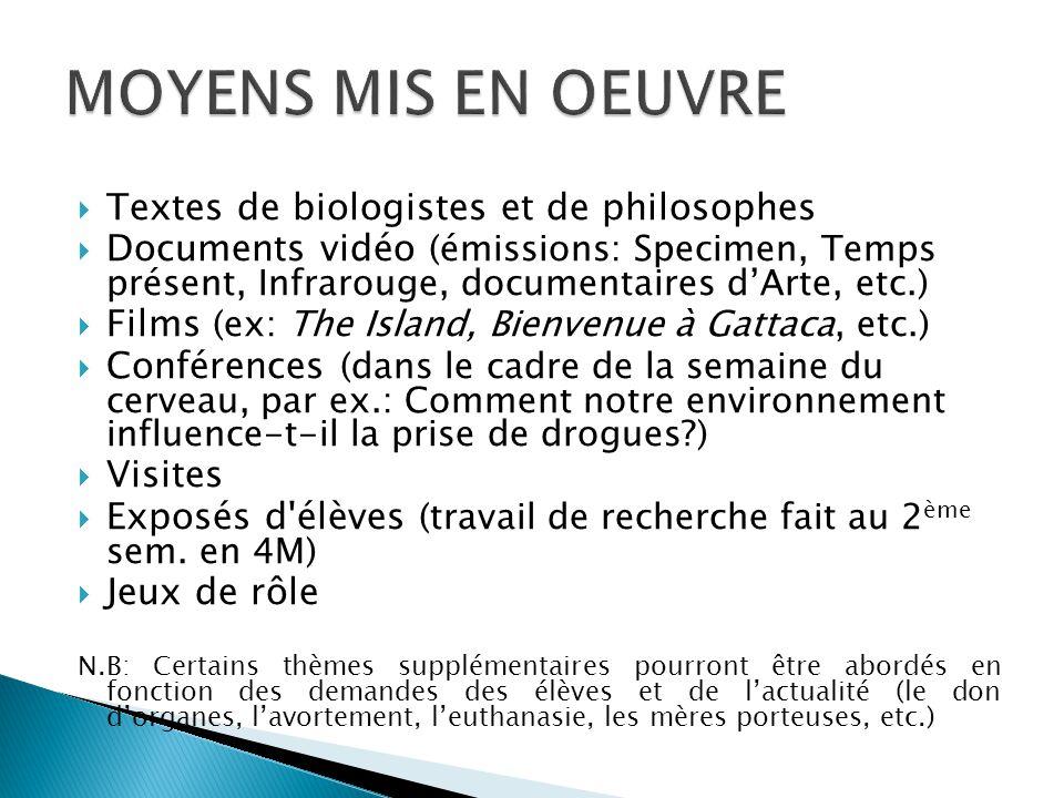  Textes de biologistes et de philosophes  Documents vidéo (émissions: Specimen, Temps présent, Infrarouge, documentaires d'Arte, etc.)  Films (ex: