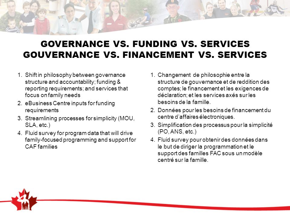 GOVERNANCE VS.FUNDING VS. SERVICES GOUVERNANCE VS.