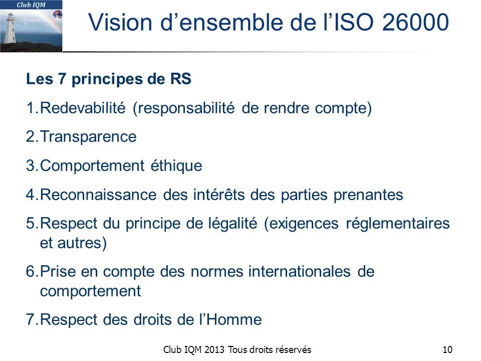 Club IQM 2013 Tous droits réservés Vision d'ensemble de l'ISO 26000 Les 7 principes de RS 1.Redevabilité (responsabilité de rendre compte) 2.Transparence 3.Comportement éthique 4.Reconnaissance des intérêts des parties prenantes 5.Respect du principe de légalité (exigences réglementaires et autres) 6.Prise en compte des normes internationales de comportement 7.Respect des droits de l'Homme 10