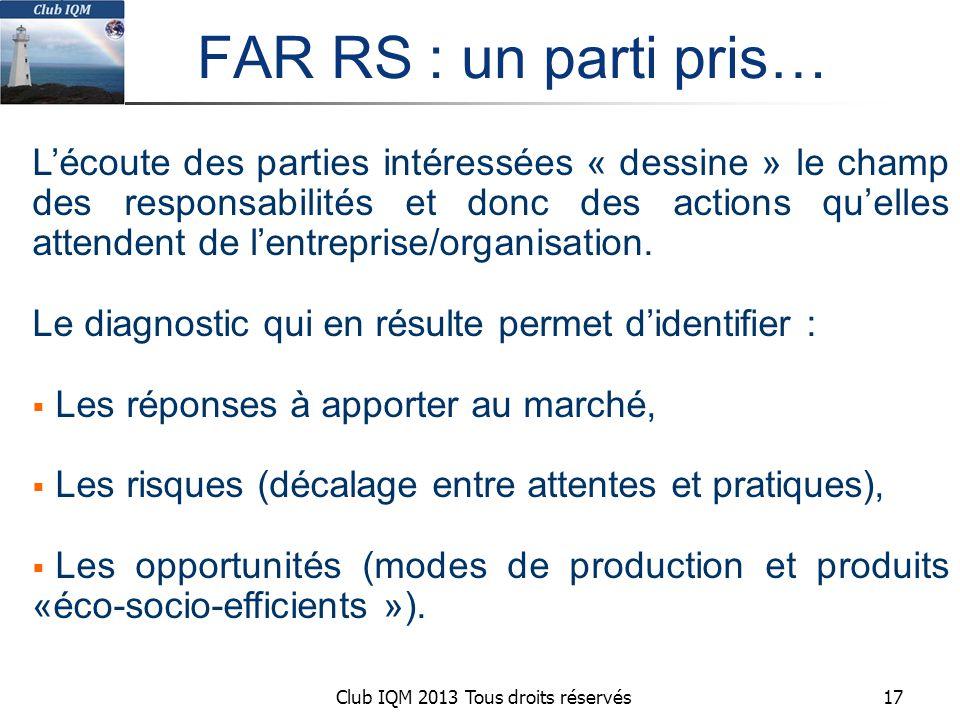 Club IQM 2013 Tous droits réservés FAR RS : un parti pris… L'écoute des parties intéressées « dessine » le champ des responsabilités et donc des actions qu'elles attendent de l'entreprise/organisation.