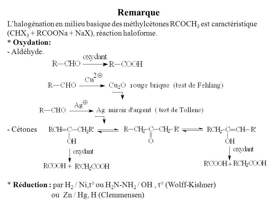 Remarque L'halogénation en milieu basique des méthylcétones RCOCH 3 est caractéristique (CHX 3 + RCOONa + NaX), réaction haloforme.