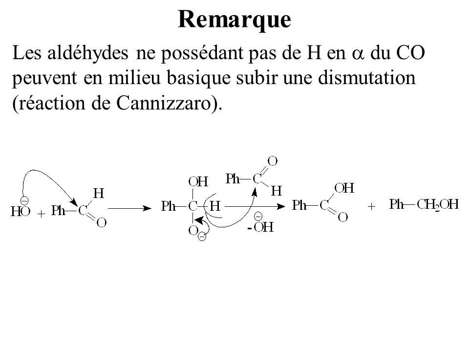 Remarque Les aldéhydes ne possédant pas de H en  du CO peuvent en milieu basique subir une dismutation (réaction de Cannizzaro).