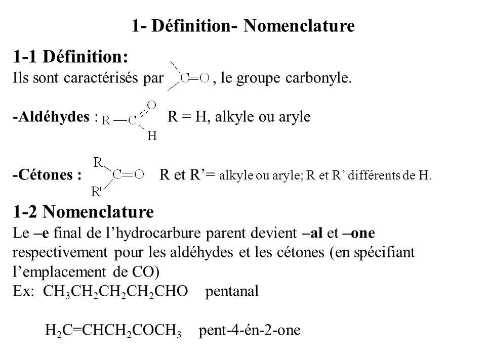 1- Définition- Nomenclature 1-1 Définition: Ils sont caractérisés par, le groupe carbonyle.