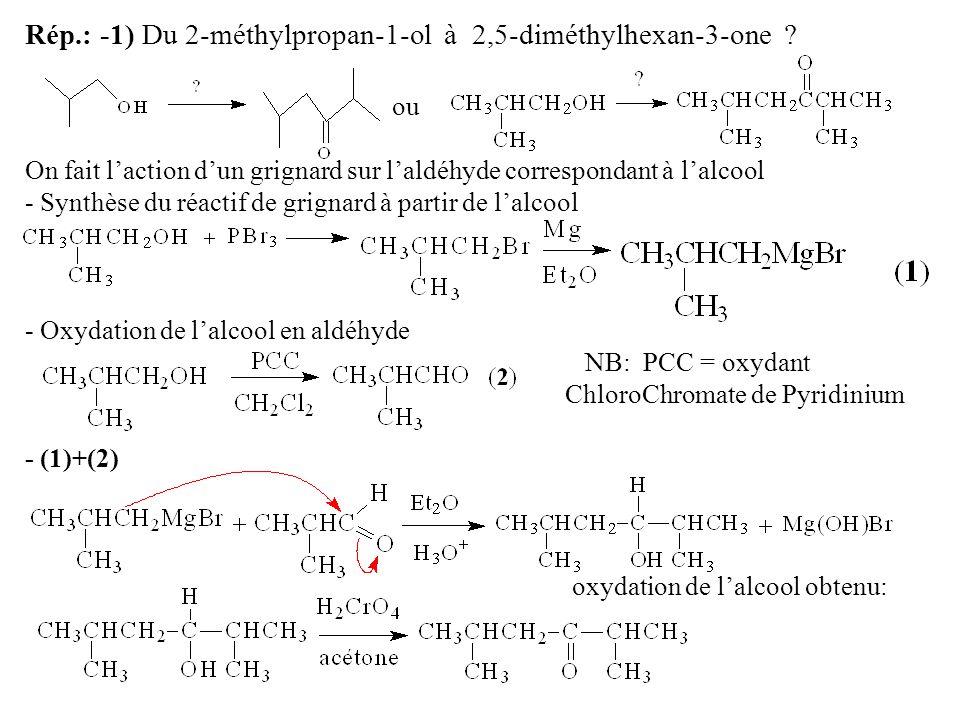 Rép.: -1) Du 2-méthylpropan-1-ol à 2,5-diméthylhexan-3-one .