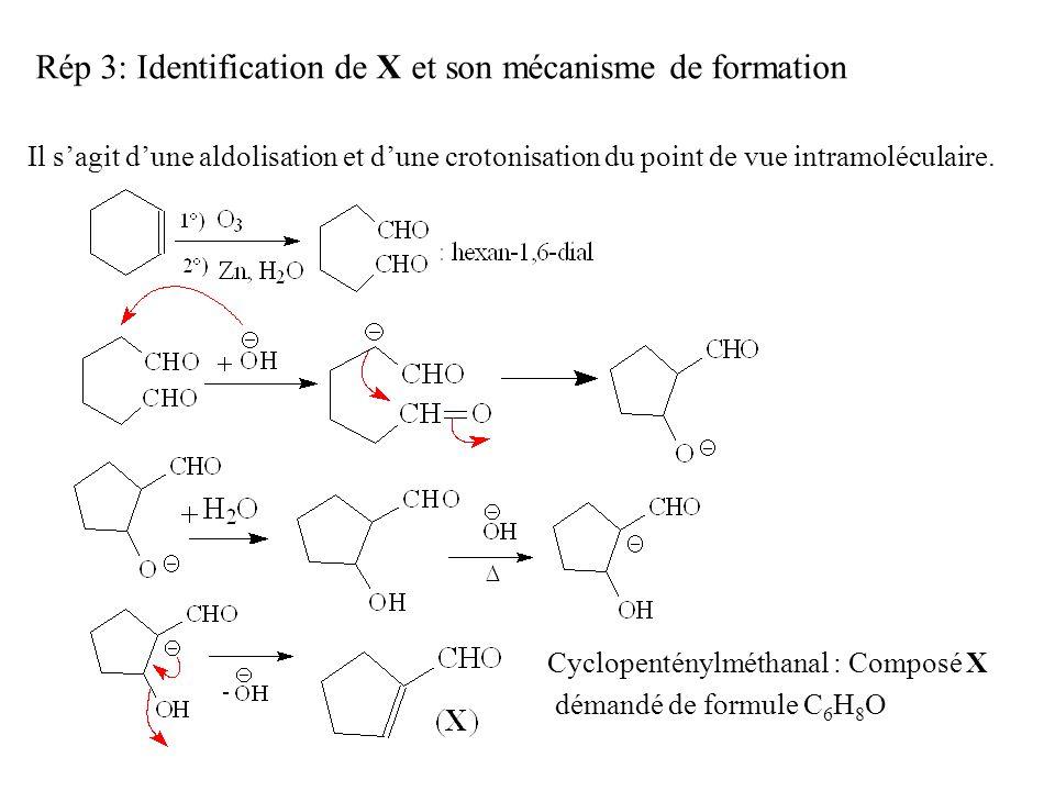 Rép 3: Identification de X et son mécanisme de formation Il s'agit d'une aldolisation et d'une crotonisation du point de vue intramoléculaire.