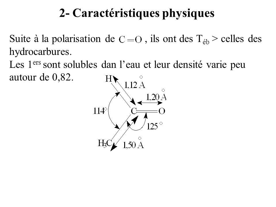 2- Caractéristiques physiques Suite à la polarisation de, ils ont des T éb > celles des hydrocarbures.