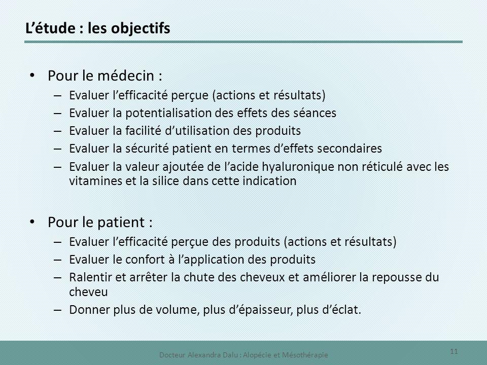 L'étude : les objectifs Pour le médecin : – Evaluer l'efficacité perçue (actions et résultats) – Evaluer la potentialisation des effets des séances –