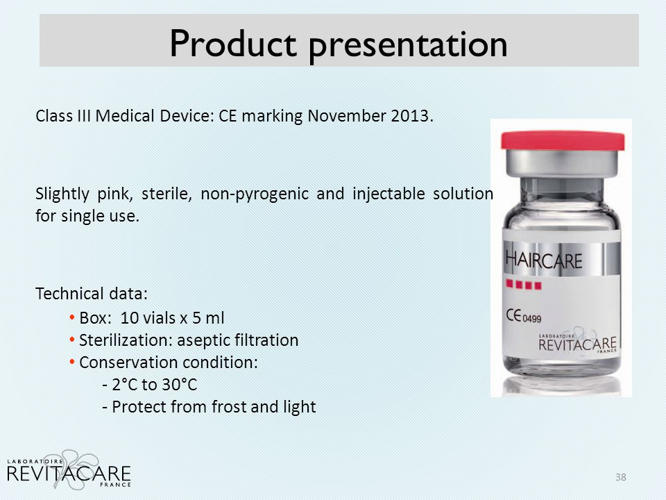 Class III Medical Device: CE marking November 2013. Slightly pink, sterile, non-pyrogenic and injectable solution for single use. Technical data: Box: